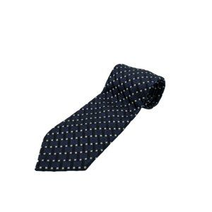 Canali Mens Tie Blue White Geometric Knit Classic